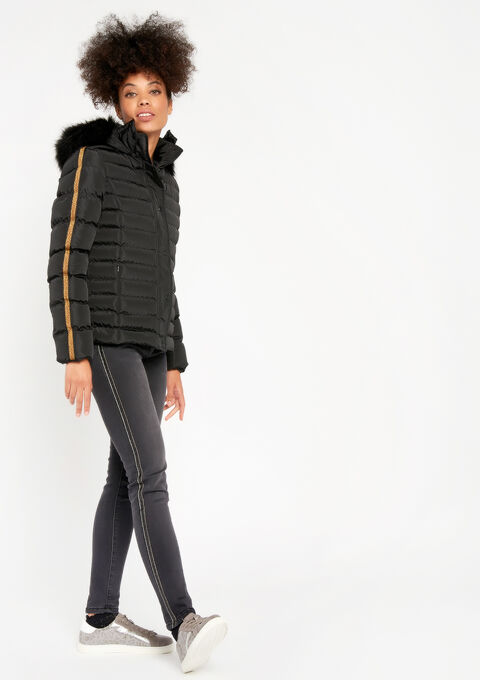 Gewatteerde jas met kap - BLACK - 23000069_1119