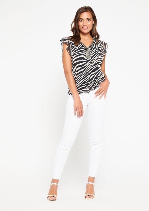 Zebra blouse met versierde hals - BLACK BEAUTY - 958247