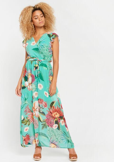 Robe longue, à fleurs - TURQUOISE - 953862