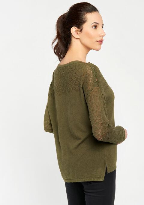 Tricot trui, gedeeltelijk ajour - KHAKI FIG - 04004769_4305