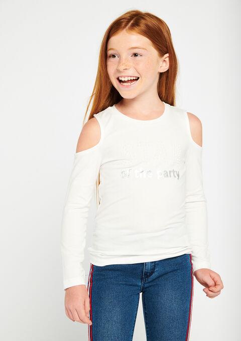 T-shirt met open schouders & parels - IVORY WHITE - 02400002_1011