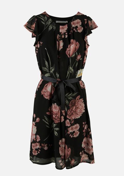 Midi jurk met bloemenprint en ceintuur - BLACK BEAUTY - 08102180_2600