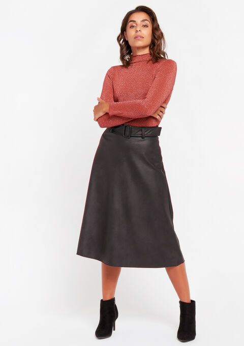 A-lijn jurk met imitatie-leer - BLACK - 07100644_1119