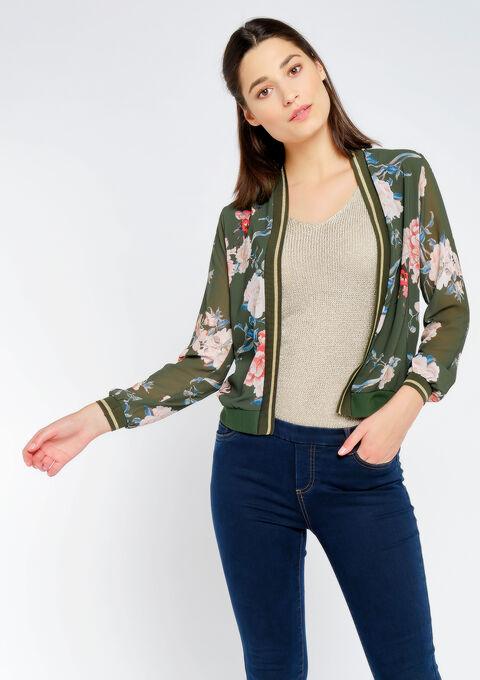 Korte jas open bomber stijl - KHAKI FIG - 09100238_4305