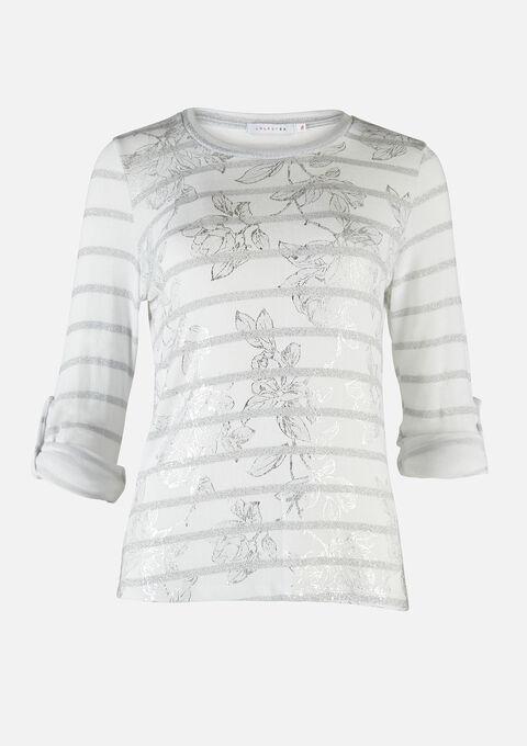 Sweatshirt met strepen en bloemen - NATURAL WHITE - 03001521_2510
