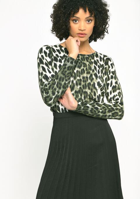 Trui met luipaard print en strass - KHAKI ARMY - 04005115_4314