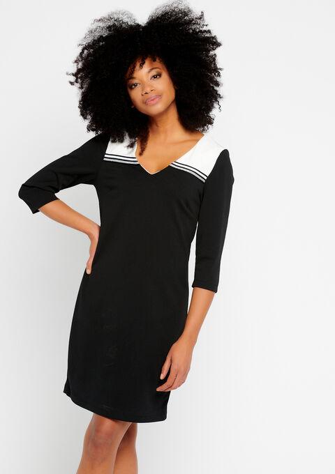 Rechte jurk, 2 kleuren en tape - BLACK - 08100559_1119