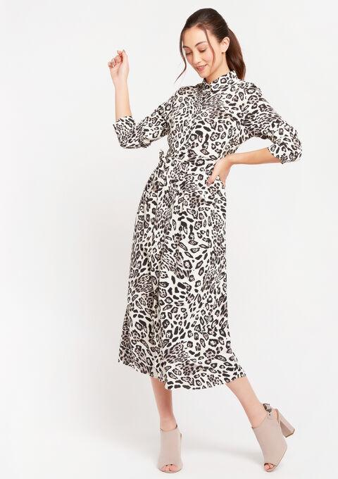 Robe chemise imprimé léopard - GREY - 08601066_1062