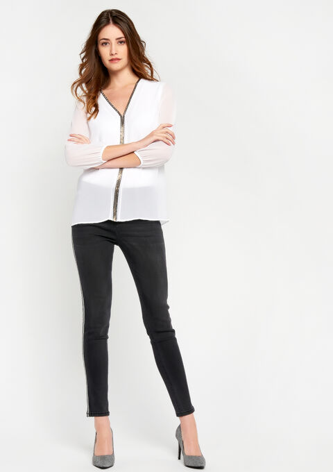 V-hals blouse met zilveren bies - OPTICAL WHITE - 05700128_1019