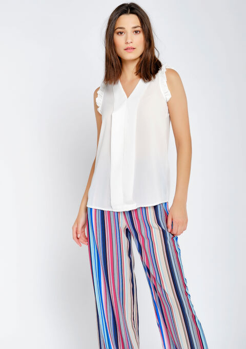 Blouse mouwen met ruches - OFFWHITE - 05700583_1001