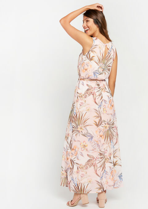 Lange jurk met bloemenprint - PINK CALM - 936668