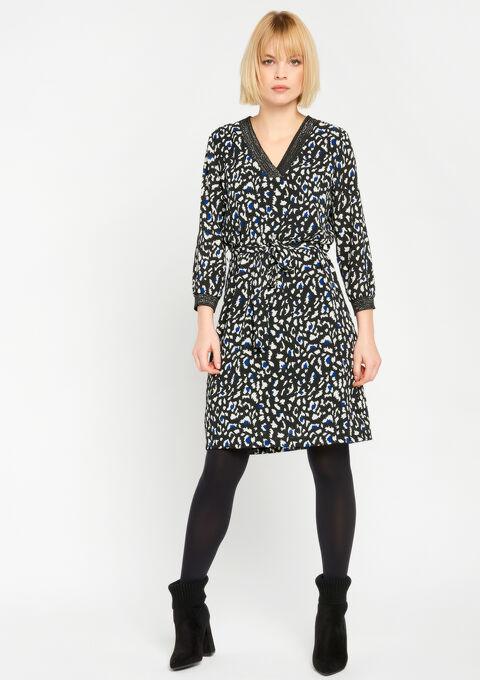 Rechte jurk met dierenprint - BLACK - 08100465_1119