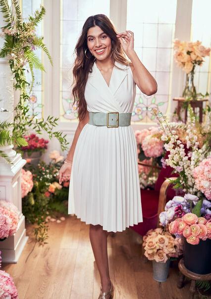 Plissé-jurk met blazer kraag - OFFWHITE - 08102177_1001