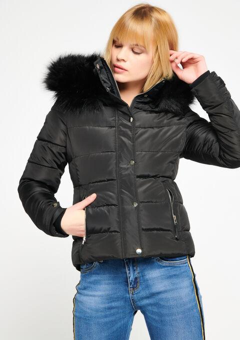 Gewatteerde jas met kap - BLACK - 23000043_1119