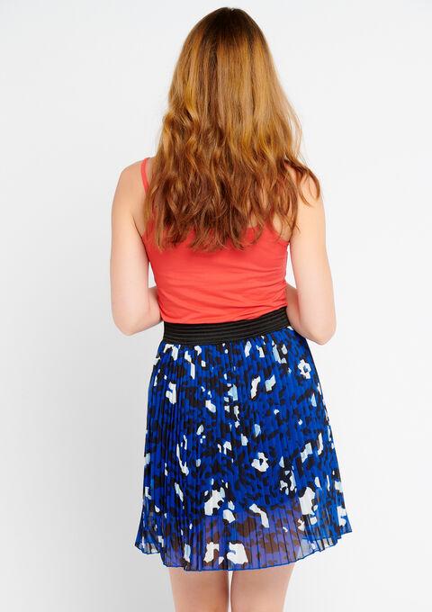 Korte plooirok in plissé met dierenprint - BLUE QUARTZ - 07100148_2804