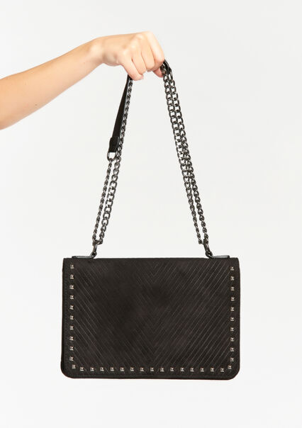 Cross body bag in corduroy with studs - BLACK - 918301