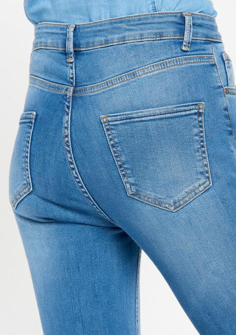 Cropped jeans, hoge taille - MEDIUM BLUE MELANGE - 22000061_151
