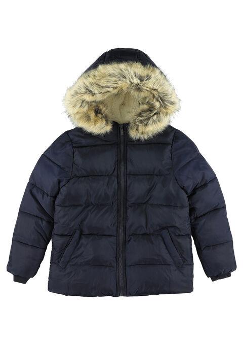 Gewatteerde jas met kap - NAVY PAPER - 10000717_2708
