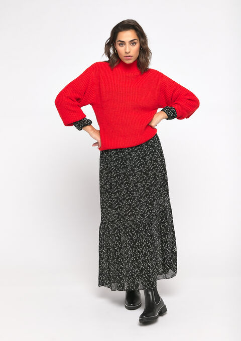 Pull large col roulé - FIERY RED - 04004895_1380