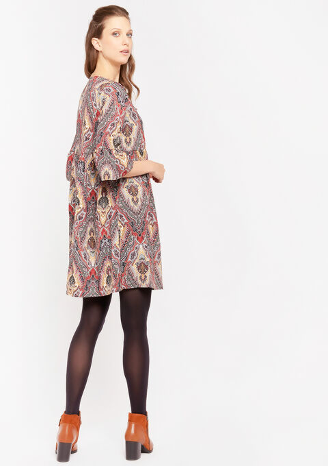 Babydoll mini jurk - KHAKI BRONZE - 08101613_1850
