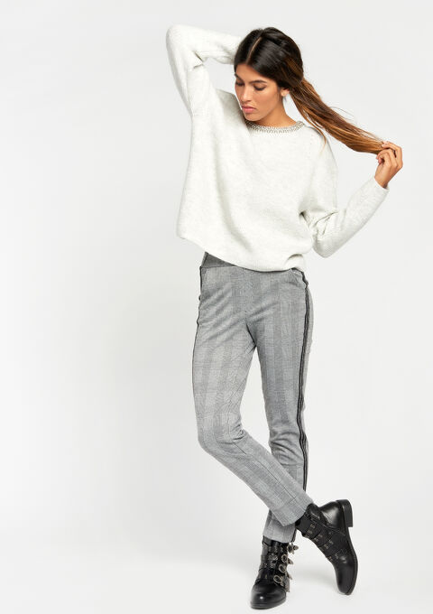 Sweater with studded crewneck - GREY RAY MEL - 04004529_3603