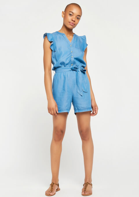 Playsuit in tencel - MEDIUM BLUE - 06003890_500