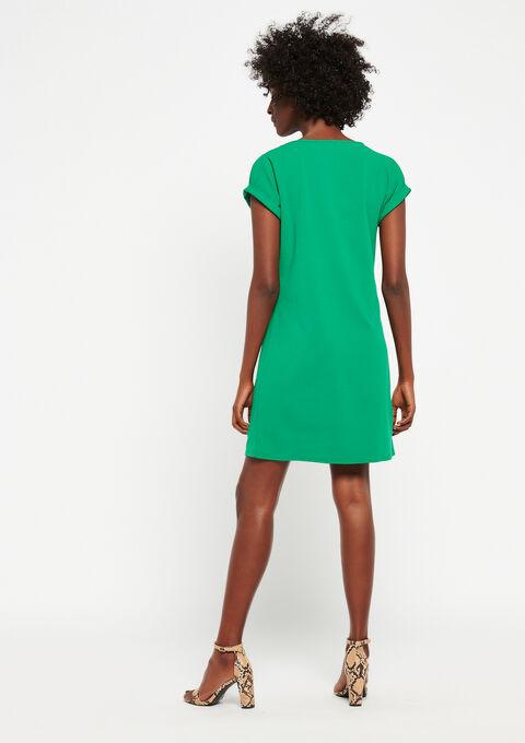 Rechte jurk met v-hals - GREEN GARDEN - 951205