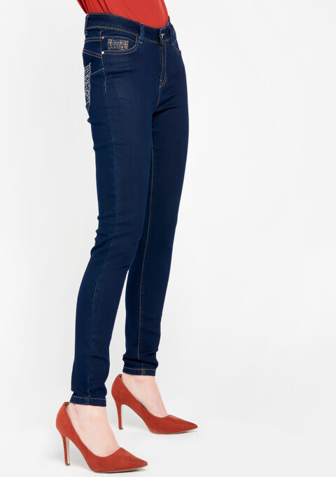 Normaal taille skinny jeans - DARK BLUE - 22000041_501