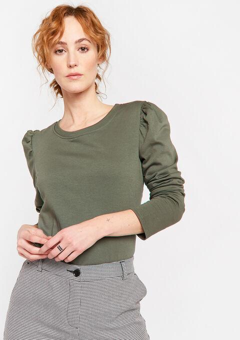 3/4 sleeves sweatshirt - KHAKI TOAST - 03001475_4322