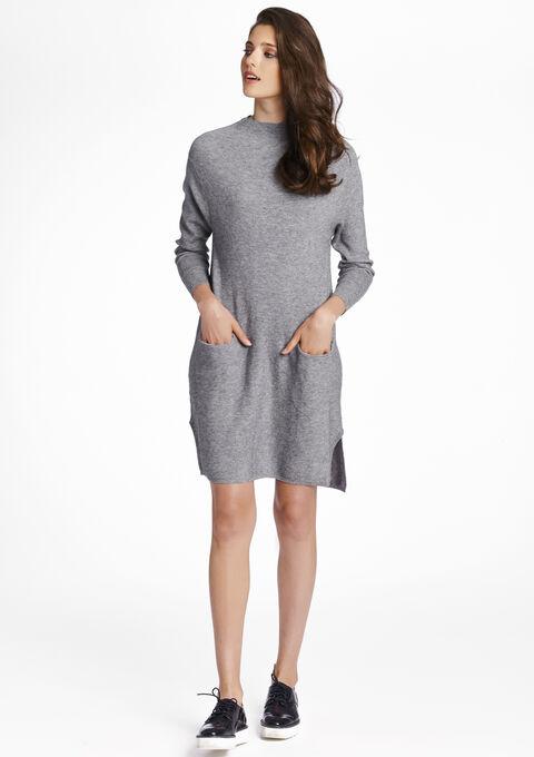 73a481dfbee710 Effen gebreide jurk met zakken - W16 MED GREY MELANGE - 04700188 1094
