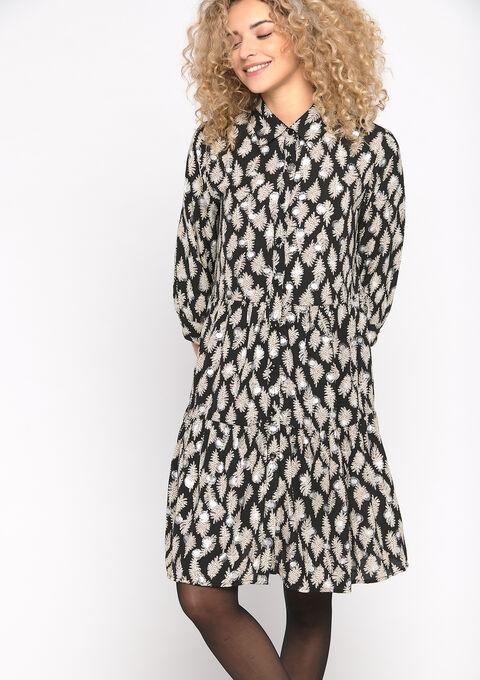 Hemd jurk met glazende print - BLACK BEAUTY - 08101659_2600