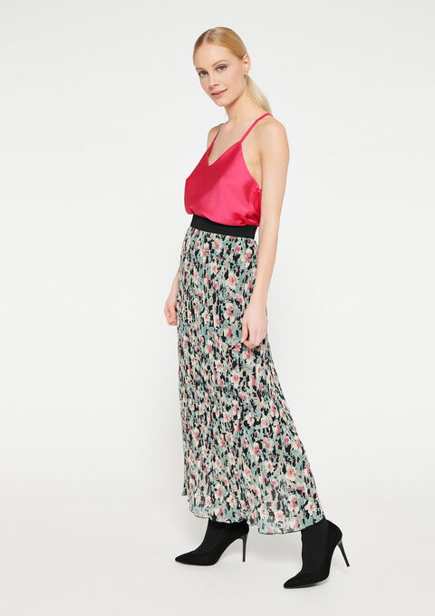 Plissé-rok met bloemenprint - GREEN FRESH - 07100658_4617