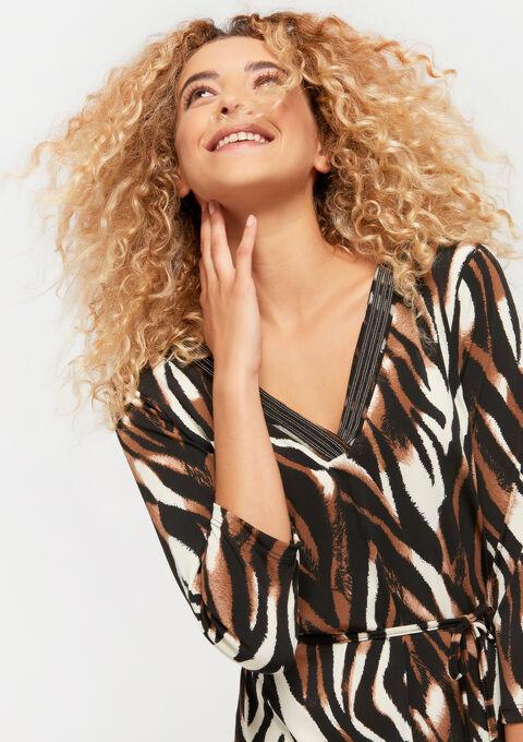 Maxi jurk met zebra print - RED CINNABAR - 08600986_5305
