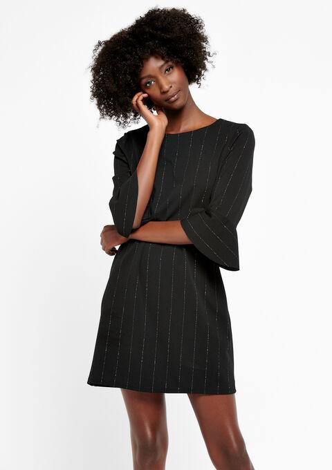 Rechte jurk met lurex strepen - BLACK - 933673