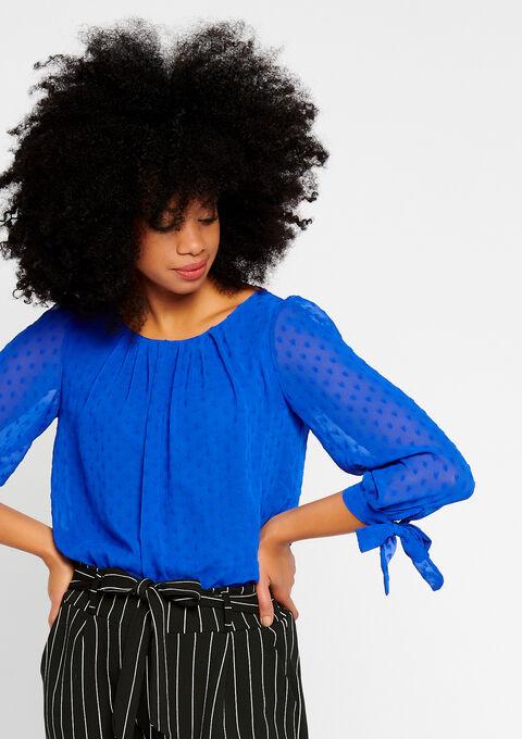 Effen blouse met plumétis - BLUE ELECTRICAL - 05700268_2805