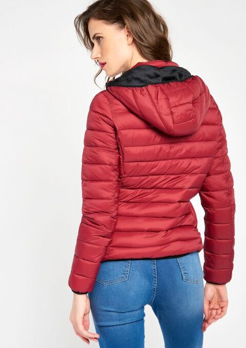 Korte gewatteerde jas met kap - RED RHUBARB - 900043