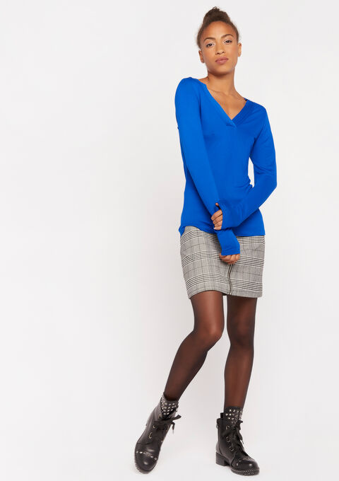 Long sleeved v-neck t-shirt - BLUE TATE - 02400067_2914