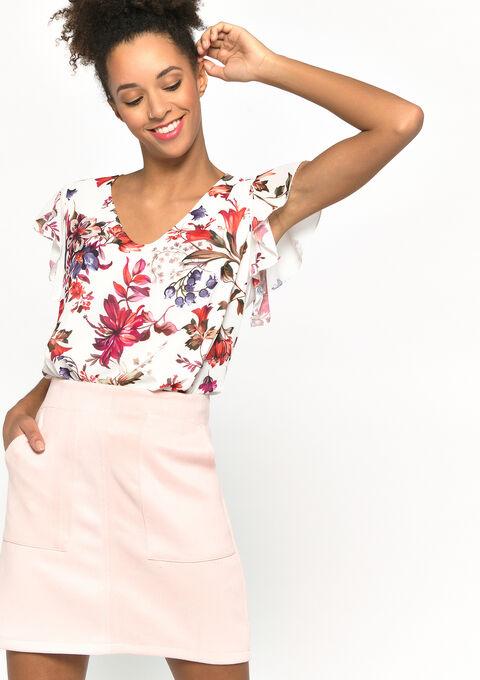 Gebloemd t-shirt met vlinder mouwen - NATURAL WHITE - 02300692_2510