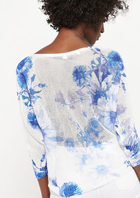 Trui met boothals en bloemenprint - WHITE ALYSSUM - 04004853_2502