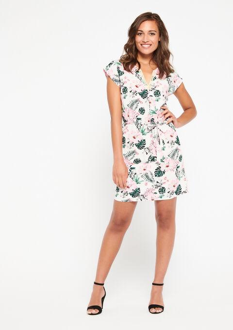 Rechte jurk met macramé, print - WHITE ALYSSUM - 08101185_2502