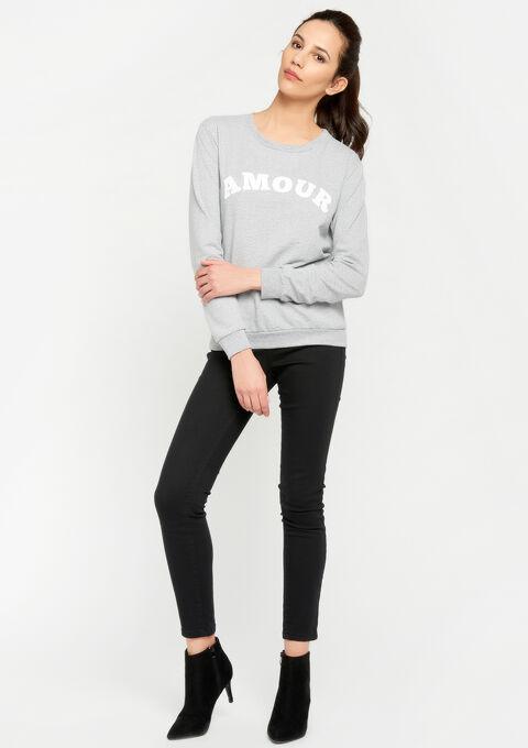 Sweater met 'amour' -quote - GREY MILD MEL. - 03001355_3504