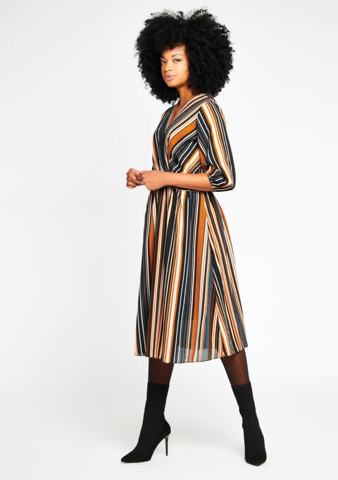 Striped maxi dress with cache coeur - CARAMEL COFFEE - 08100221_952