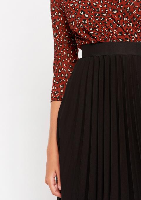Cache-coeur jurk met plissé-rok - RUST BROWN - 08102002_1283