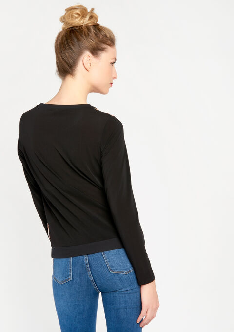 Sweater in 2 stoffen, ronde hals - BLACK - 03001324_1119
