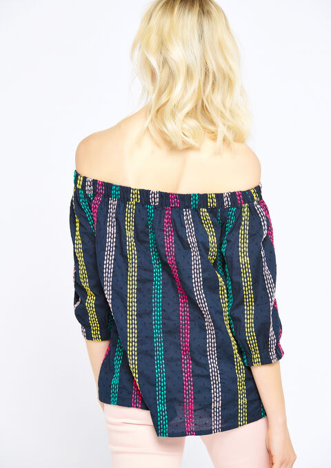 Gestreepte carmen blouse - NAVY HEAVEN - 05700246_2711