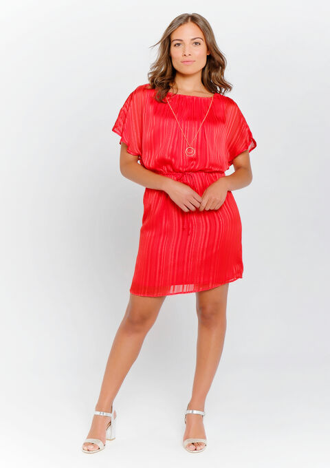Robe courte avec collier - REAL RED - 08100703_1393