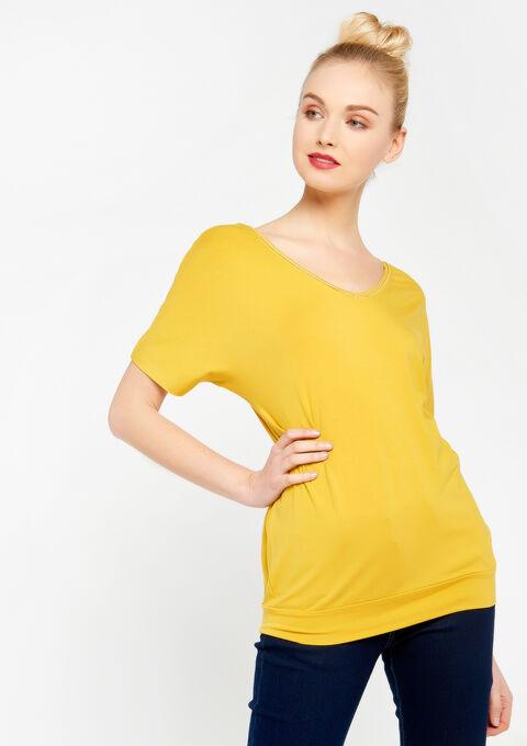 T-shirt met v-hals, vleermuismouw - LEMON CURRY - 02500003_1237