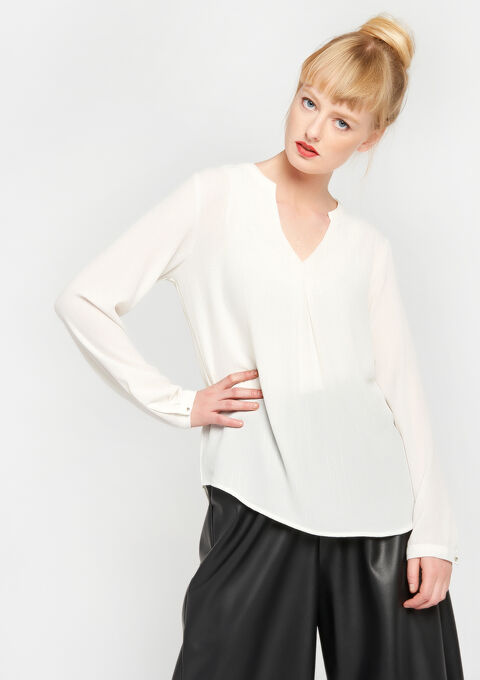 Blouse effen oosterse hals - IVORY WHITE - 05700092_1011