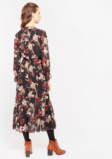 Maxi jurk met strikkraag - BLACK - 08601019_1119