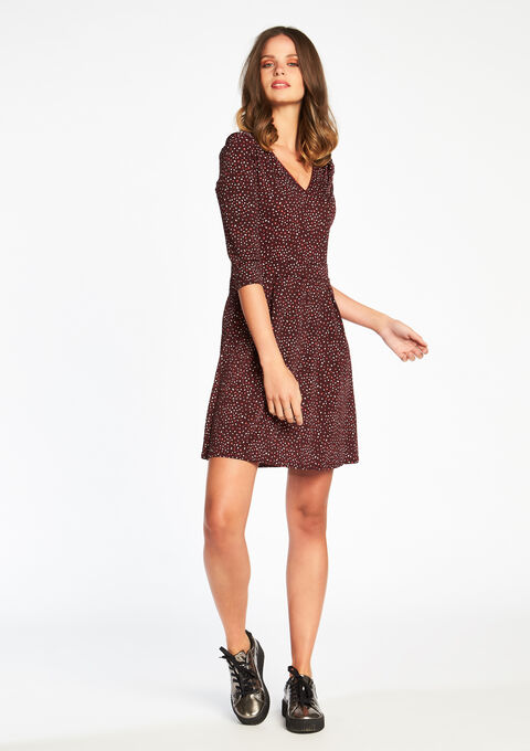 74e2f7cc950cd6 Geprinte jurk met V-hals - BORDEAU WINE - 08005397 1467